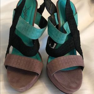 Used YSL tri-colored heels in size 36...